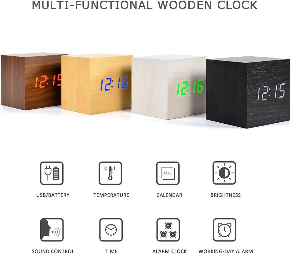 bamboo white FIBISONIC LED Digital Alarm Clock Wood Date//Temperature Large Display Adjustable Luminance Night Light Clock