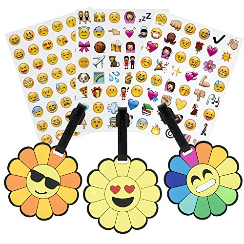 Carry on Travel Luggage Tags for Kids Women Mens Personalized Suitcase Baggage Bag Label Identifier w/ Emoji (Personalized Emoji)