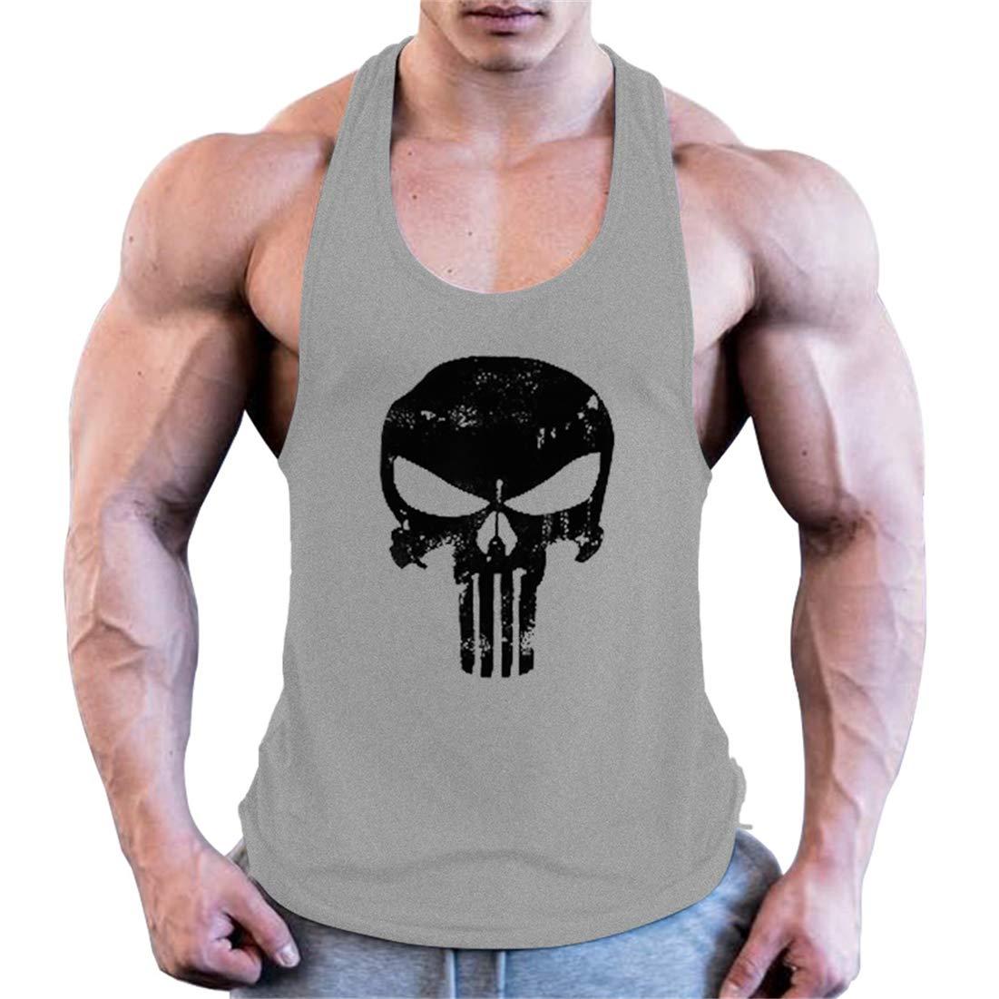 COWBI Camisa Camiseta Hombre Tirantes Culturismo Fitness Deportiva,Ropa Deporte Masculina para Entrenar Gym algod/ón