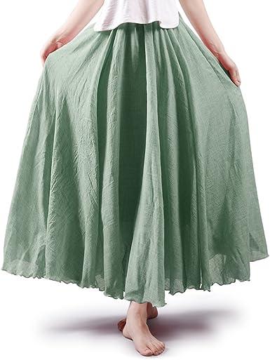 OCHENTA - Falda larga de algodón para mujer, estilo bohemio ...