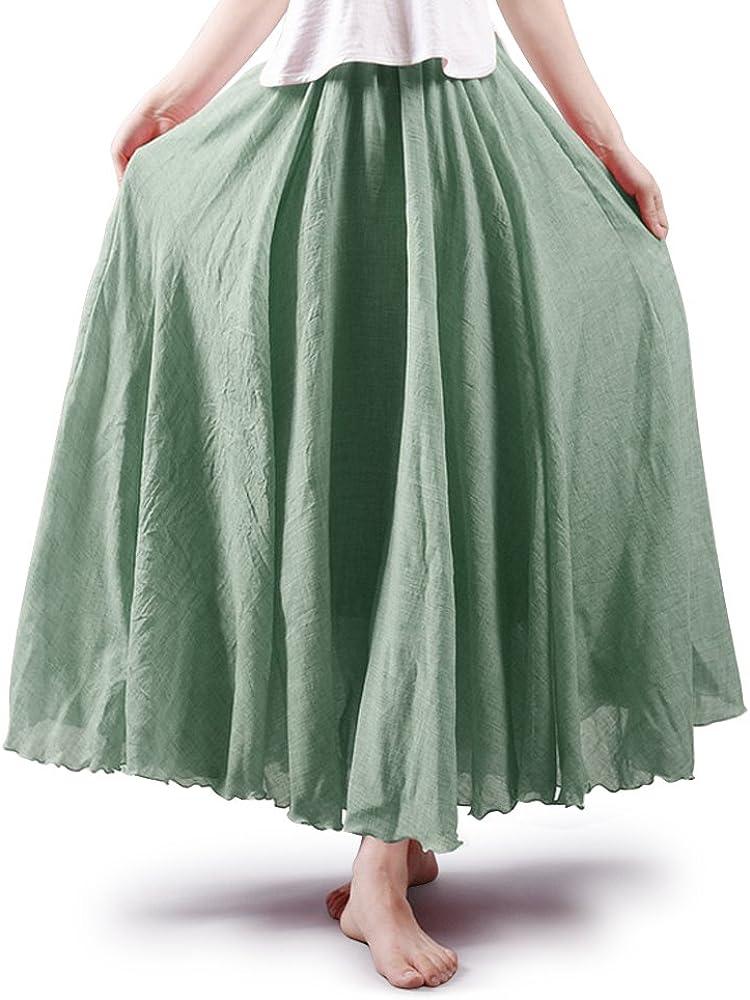 OCHENTA - Falda larga de algodón para mujer, estilo bohemio Verde verde claro 105 cm: Amazon.es: Ropa y accesorios