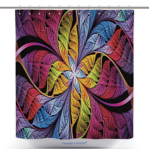 Ohio State Buckeyes Stained Glass - vanfan-Polyester Shower Curtains Extraordinarily Beautiful Colorful Stained Glass Leaves are Fabulous Plants Abstract Fractal Polyester Bathroom Shower Curtain Set Hooks(72 x 72 inches)