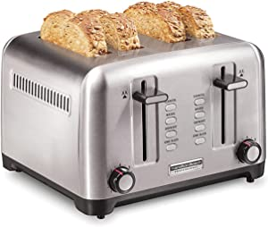 Hamilton Beach Professional 24991 Toaster with Deep & Wide Slots for Artisan Bread & Bagel and Sure-Toast Technology, Auto Shutoff, 4-Slice, Stainless Steel