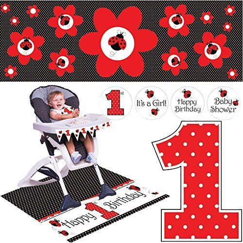 Creative Converting Ladybug Fancy Party Supplies Pack Including Highchair Kit, Candle, and Banner.