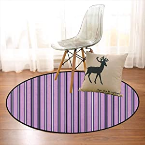 BottleTip Geometric Regional Round Carpet Pale Colored Stripes with Vertical Borders Ornate Line Art Illustration Non-Slip Easy to Clean D59 Inch Lilac Black White