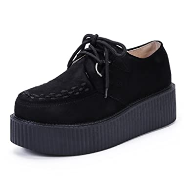 bc0a73bc62c9 Women s Creepers Wedge Platform Shoes Lace-Up Flat Fashion Oxford Black  Size 5 B(