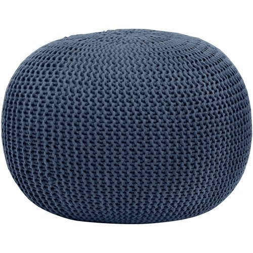 Urban Shop Round Knit Pouf, Home Décor, Living or Bedroom Furniture, Contemporary Style, Polyester, Blue