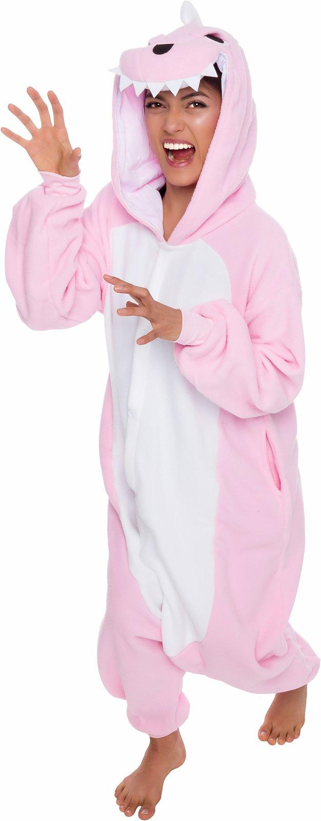 Silver Lilly Unisex Adult Pajamas - One Piece Cosplay Pink Dinosaur Animal Costume (S)