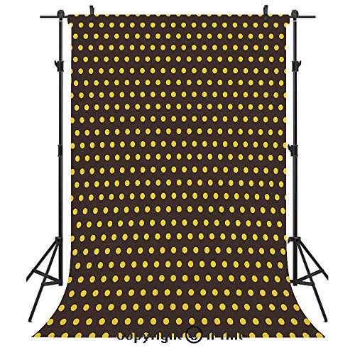 Vintage Home Decor Photography Backdrops,Pop Art 50s 60s Retro Design with Polka Dots Circles Image Decorative,Birthday Party Seamless Photo Studio Booth Background Banner 5x7ft,Dark Brown and Marigol ()