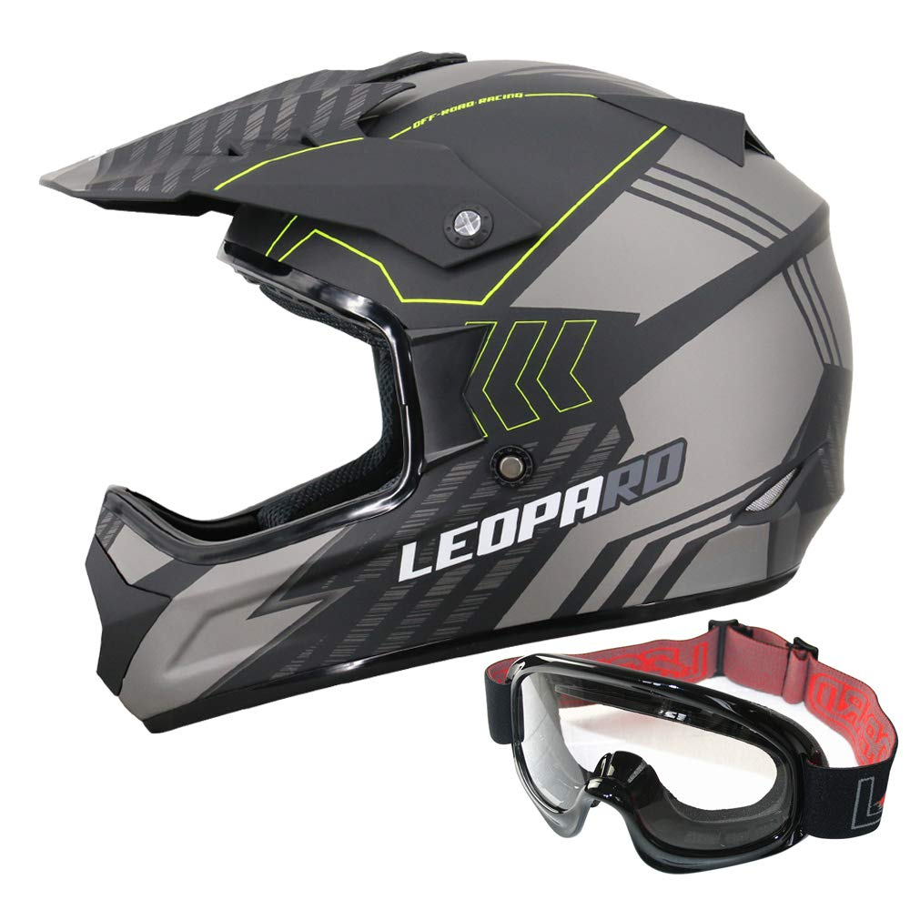 Leopard LEO-X307 Casco Motocross Guantes ECE Homologado Plata//Negro Mate S Casco de Moto Cross Integral para Mujer Hombre 55-56cm Gafas
