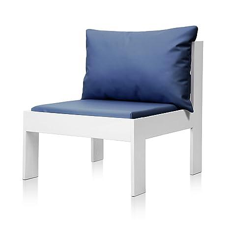 SUENOSZZZ - Sofa Jardin de Madera de Pino Color Blanco, MEDITERRANEO Mod. Respaldo, Sillon cojín Polipiel Color Azul. Muebles Jardin Exterior. Silla ...