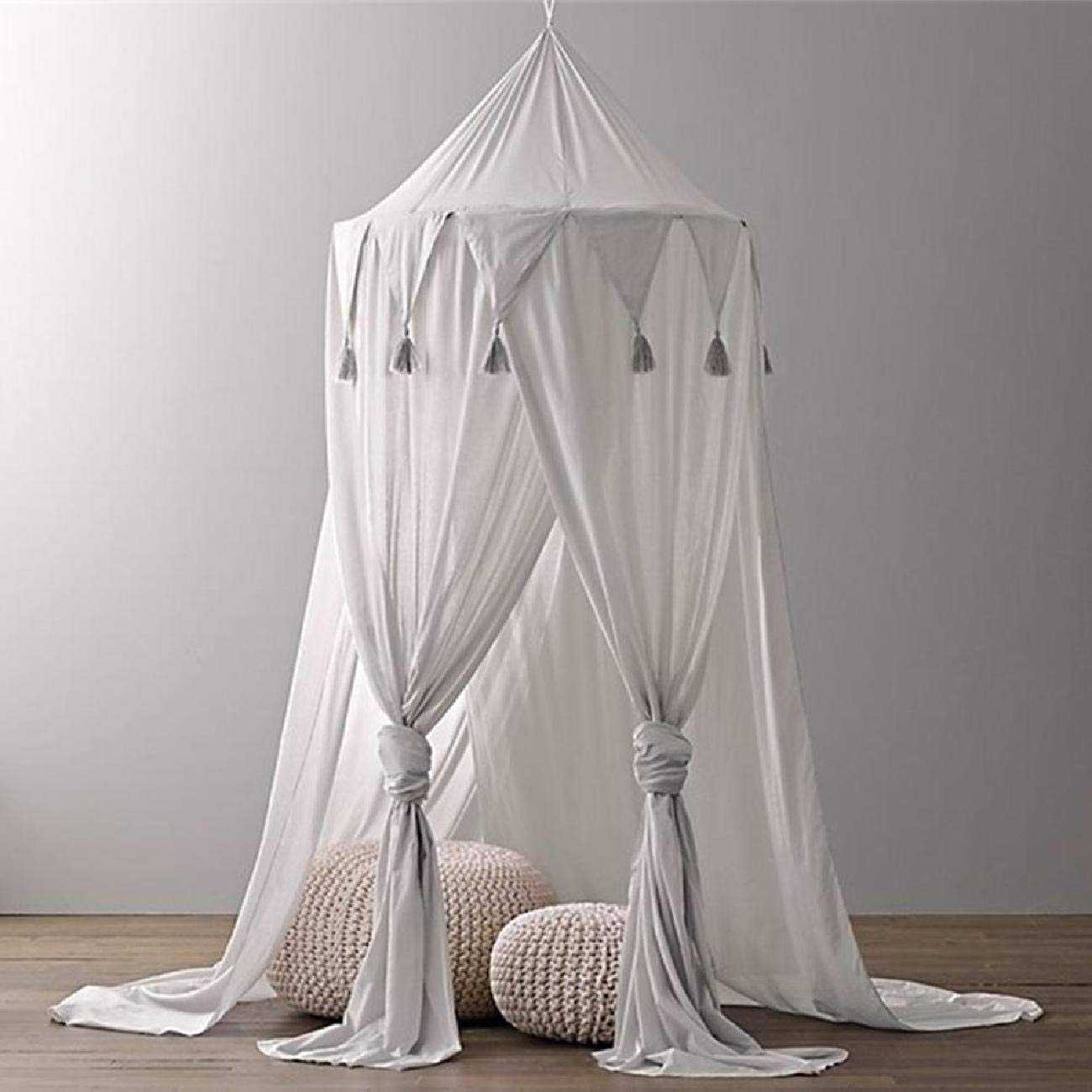 Bed Canopy, Chiffon Reading Nook Tent Dome Triangle Tassel Net with Assembly Tools Bedroom Decoration Indoor Game House for Kids (Grey)
