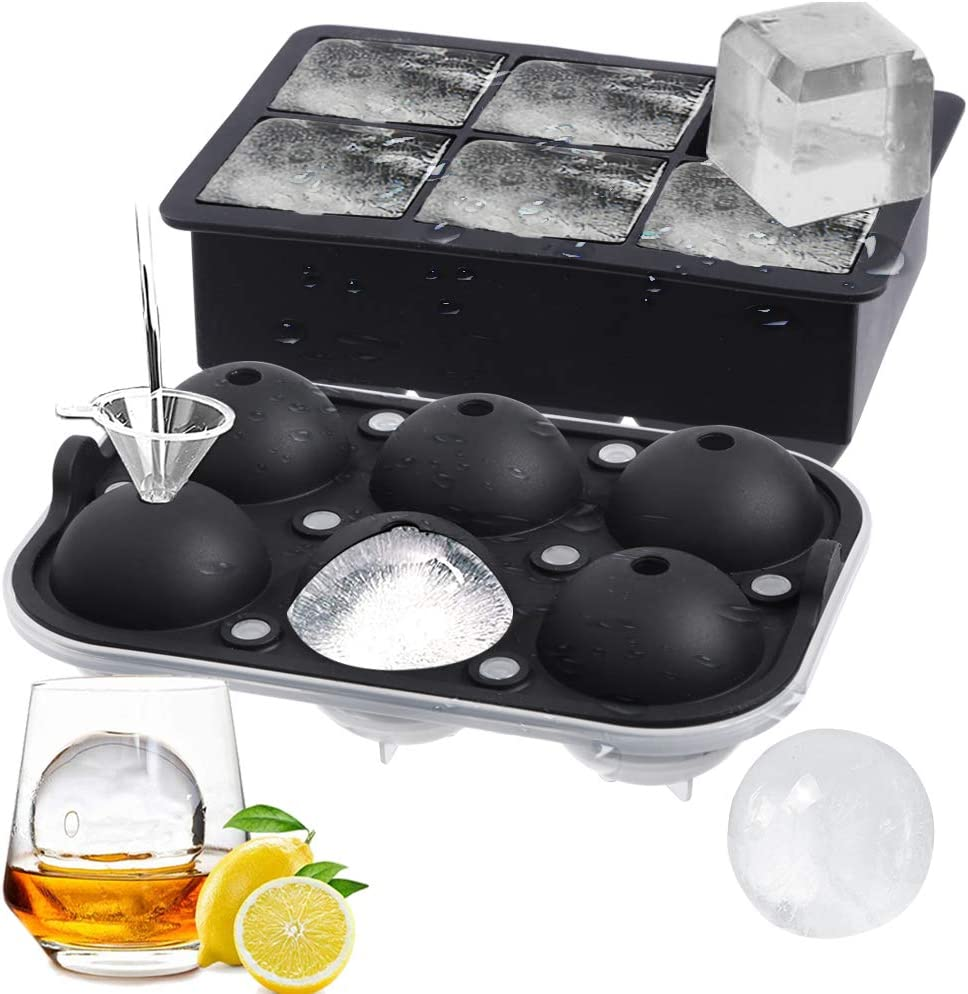 ROTTAY Ice Cube Trays (Set of 2), Sphere Ice Ball Maker with Lid & Large Square Ice Cube Molds for Whiskey, Cocktails and Homemade, Keep Drinks Chilled