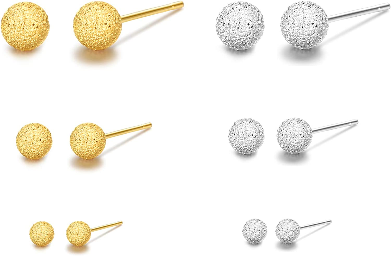 Womens Sterling Silver 925 Gold Plated Bead 5mm Stud Earrings