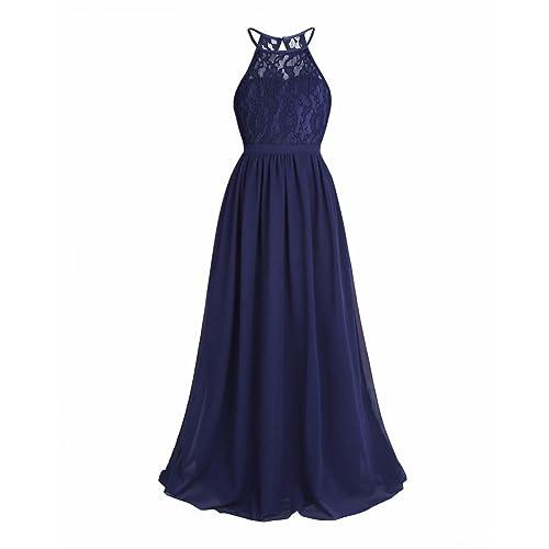 iEFiEL Kids Girls Halter Lace Chiffon Flower Dress Junior Wedding Bridesmaid Pageant Formal Party Dress Maxi