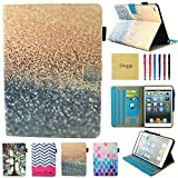New iPad 9.7 Inch 2017 Case, iPad Air 2 Smart Case, iPad Air Leather Case, Dluggs Lightweight Full Body Protective Folip Case Cover for Apple iPad 2017 / iPad Air 1 2 Tablet, Sparkly Sand