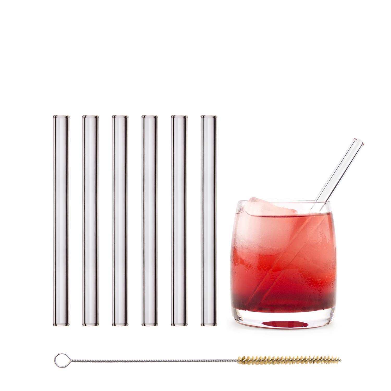 HALM  Glass Straws - 6 Reusable Drinking Straws + Plastic-Free Cleaning Brush - Made in Germany - Dishwasher Safe - Eco-Friendly - 15 cm (6 in) x 0.9 cm - Straight - Perfect for Smoothies, Cocktails