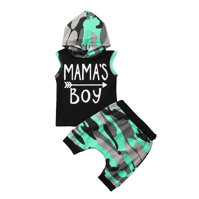 Toddler Baby Boy Style Letter Print Hood Tops Pattern Pants 2PCS Set Clothes UK