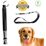 Dog Whistle to Stop Barking - Barking Control Ultrasonic Patrol Sound Repellent Repeller Adjustable Pitch in Black Color with FREE Premium Quality Lanyard Strap - Train Your Dog