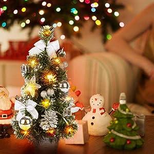 URMAGIC 15.75 Inch Prelit Christmas Tree Artifical, Led Light Up Christmas Tree Tabletop Decor with Fiber Optics (15.75 Inch, Sliver)