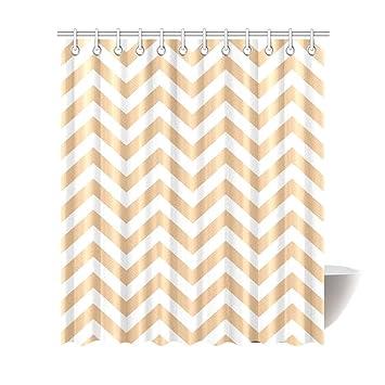 Amazon InterestPrint Shower Curtain Chevron Polyester Fabric