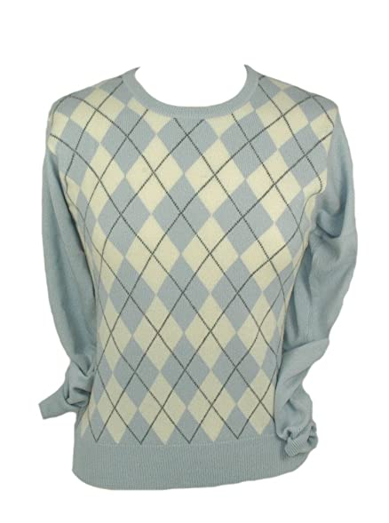 Ladies Cashmere Argyle Sweater at Amazon Women's Clothing store ...