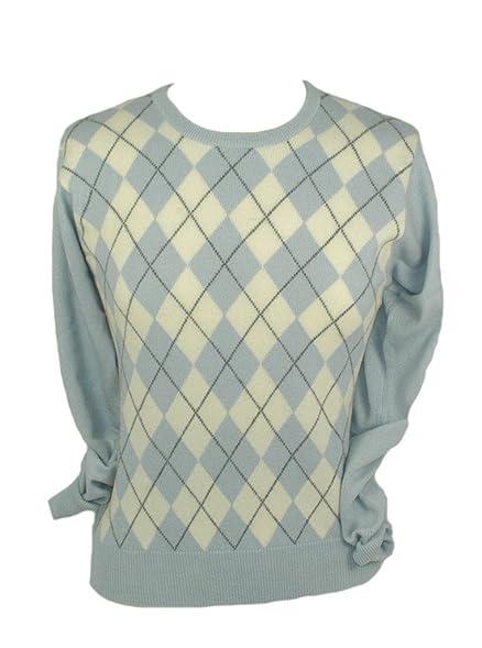 Ladies Cashmere Argyle Sweater at Amazon Women's Clothing store ...