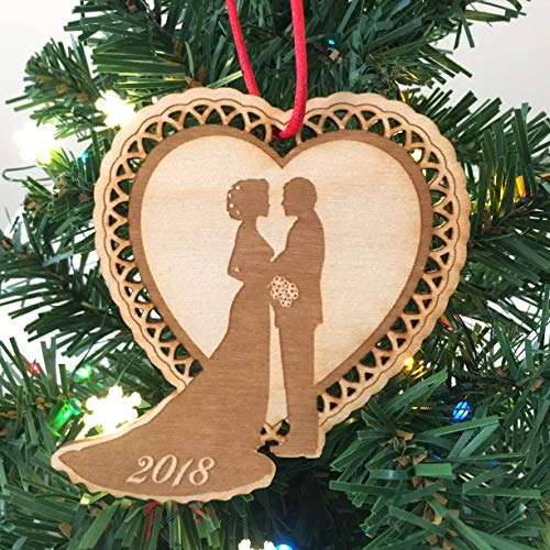 Elegant Scalloped Heart Newlywed Christmas 2018 Ornament