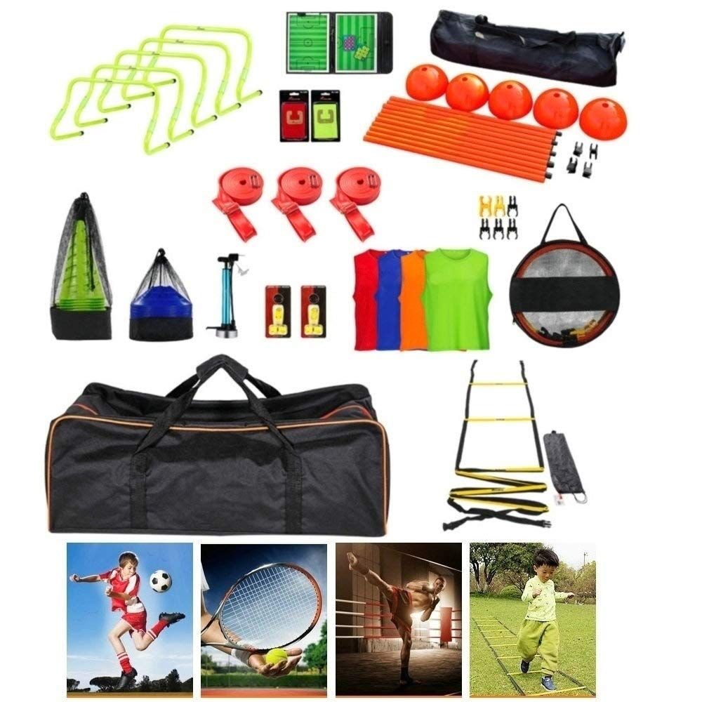 AMOY TANG Team Training & Sports Exercise & Fitness Equipment Speed & Agility Training Kit Combo Set with Carry Bag-Speed Agility HurdleTraining Pinnies Traffic Cone Speed Bands Whistle More!