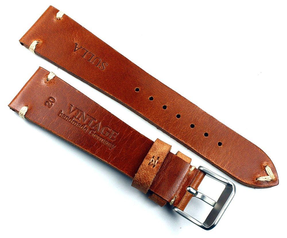 Vintage klockarmband av sadelläder Shabby shick unik handborstad och handgjord i Tyskland svart Ljusbrun