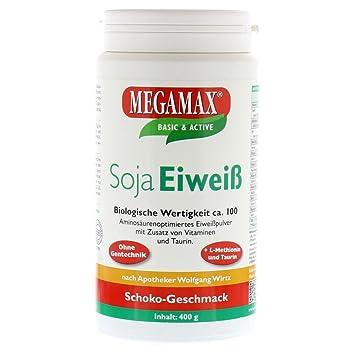 Megamax - Soja Eiweiß - Proteínas de soja - Crecimiento muscular y dieta - Valor biológico aprox. 100 - Chocolate - 400 g: Amazon.es: Deportes y aire libre
