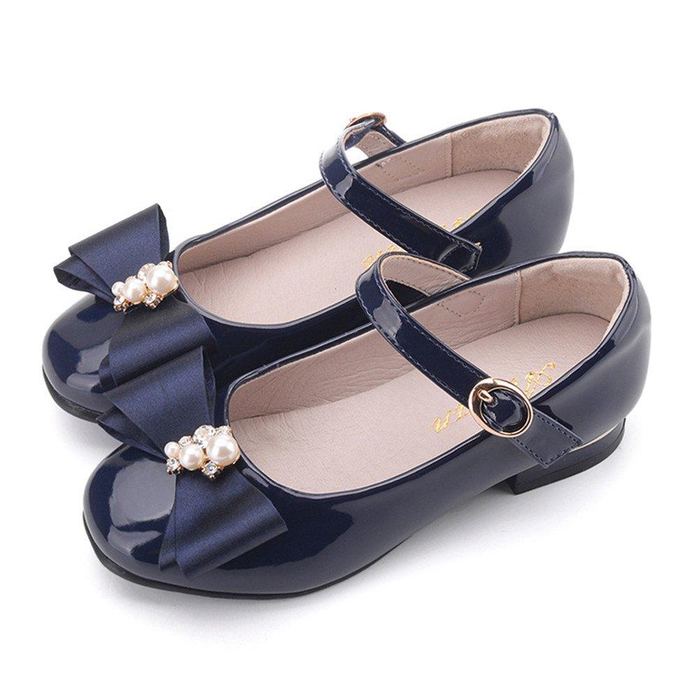 Flyrioc Girl's Little Heel Ballet Dress Shoes Princess Mary Jane Floral Dress (Little Kid/Little Girls) Navy 4 M US Big Kid