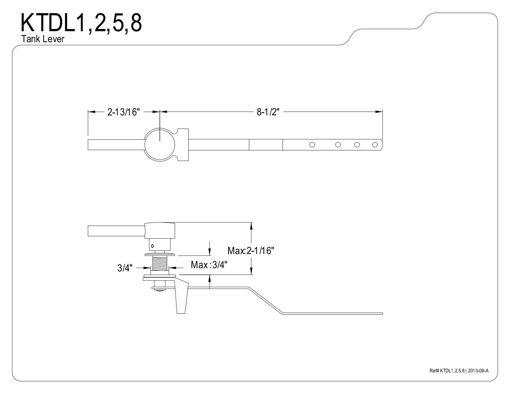 Kingston Brass KTDL2 Concord Tank Lever, Polished Brass, 2-13/16'' Handle Length by Kingston Brass (Image #5)