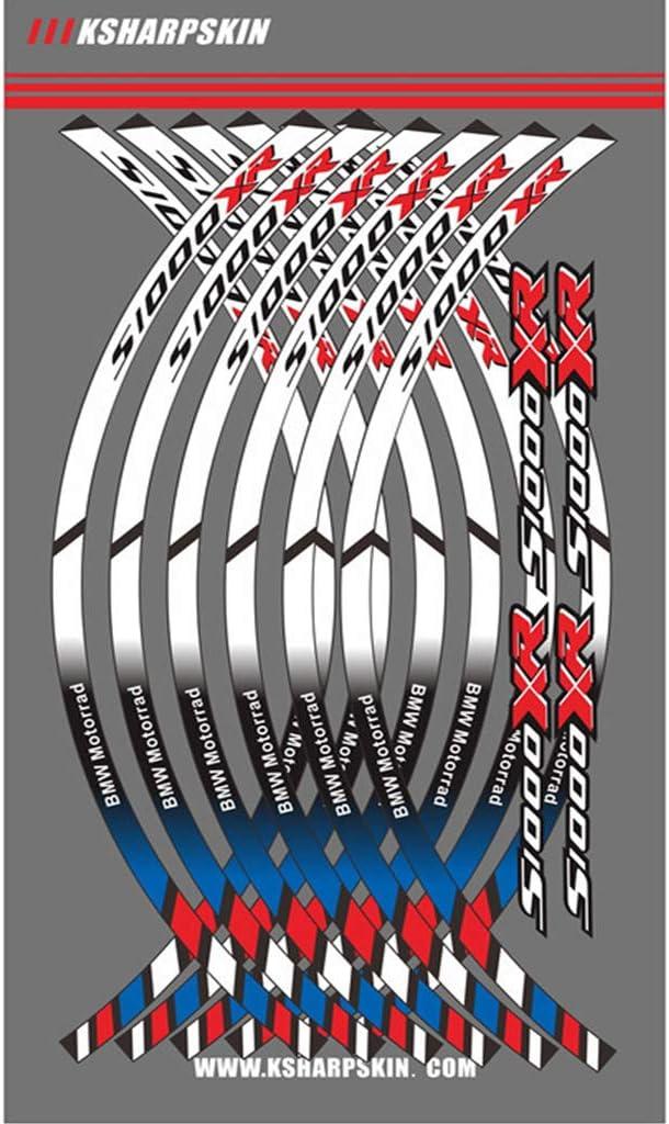 Motorrad Felgenrandaufkleber Rim Stripes Aufkleber F/ür S1000XR Wei/ß+Blau