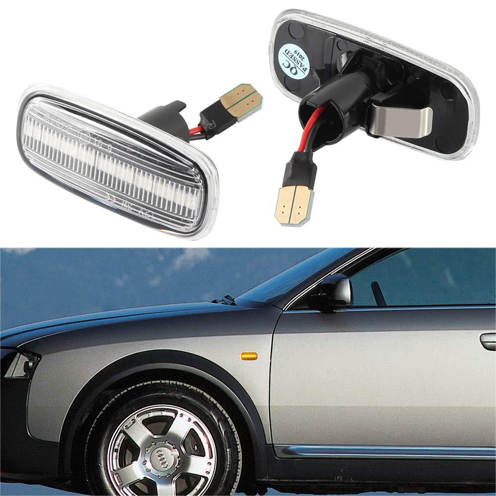 para Aud-i A2 A3 8L A4 B5 A6 4B C5 A8 4D TT 8N OZ-LAMPE LED luces de giro marcadoras laterales 1 par Lente transparente luces indicadoras de direcci/ón color /ámbar