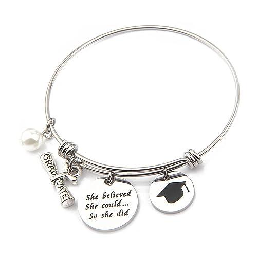 487d3dafe ENSIANTH Graduation Bracelet She Believed She Could So She Did Bracelet  Inspirational Jewelry Gift for Graduates