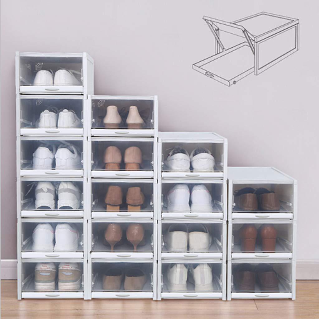 3pc Foldable Shoe Containers Stackable Shoe Cases w//White Frame Back to School Transparent Shoe Organizer Box Multi-Purpose for Closet Shelf Deck XGao Push Drawer Plastic Shoe Storage Boxes