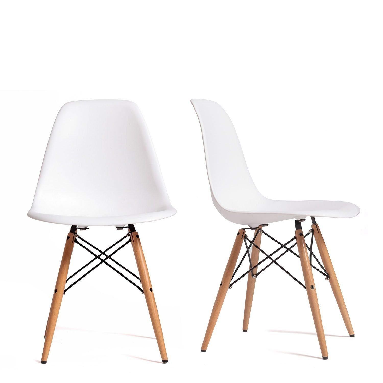 Set 4 Sedie mod. DSW bianca in polipropilene e gambe in legno di ...