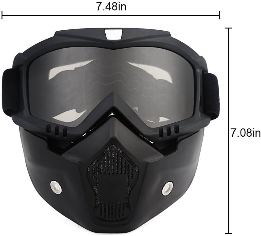 Lievevt Occhiali da Moto con Maschera Rimovibile Occhiali Caldi antiappannamento a Prova di Nebbia Occhiali da Moto Casco a Bocca Regolabile Occhiali Antiscivolo a Tracolla Occhiali per Motociclisti