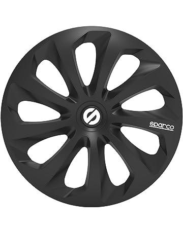 SPARCO SPC1570BK Tapacubos Sicilia, Negro, Set de 4, 15