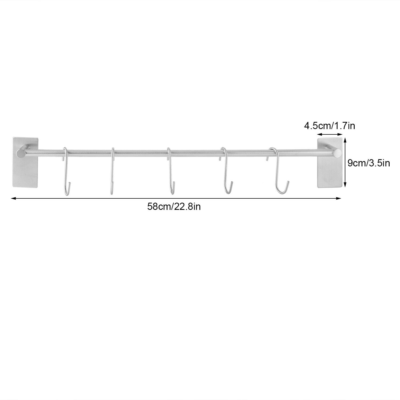 IWON Porte-serviette Mural de Barre 55CM en Acier Bross/é Inox /à 5 crochets ajustables avec 3M Scotch Adh/ésif Facile /à Installer pour Rangement Serviette de Bain