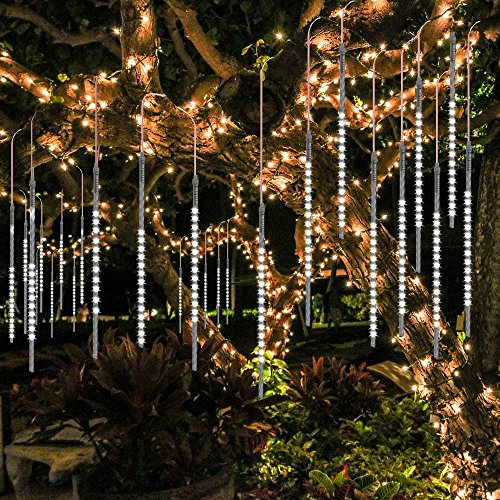 BlueFire Upgraded Meteor Shower Rain Lights, 50cm 10 Tubes 540 LED Falling Rain Drop Christmas Light, Waterproof Cascading Lights for Holiday Party Wedding Christmas Tree Decoration (White)]()