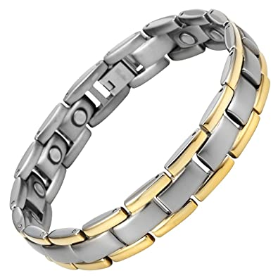 Willis Judd New Ladies Tri Colour Magnetic Titanium Bracelet In Black Velet Gift Box + Free Link Removal Tool