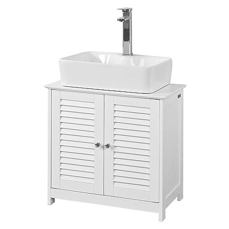 SoBuy® Mobile Base per lavabo con 2 Ante in Stile  tapparelle,Bianco,L60*P35*A58cm,FRG237-W,IT