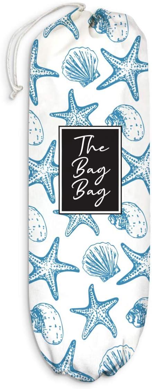 Ocean Shell Starfish Plastic Bag Holder Grocery Shopping Bags Carrier Storage Organizer Dispenser, Home Kitchen Bathroom Farmhouse Decor, Gift for Hostess, Housewarming, Thanksgiving, Christmas
