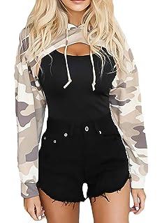 X-Future Womens Sexy Irregular Hoodies Crop Tops Pullover Sweatshirts Hooded