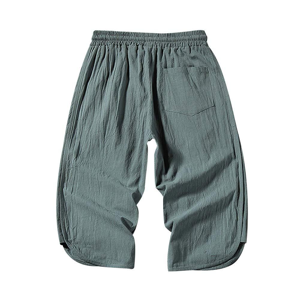 Allywit M-5XL Men/'s Casual Baggy Drawstring Linen Drawstring Elastic Fitness Loose Harem 3//4 Length Pants