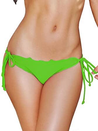 f542ef3830e0a Image Unavailable. Image not available for. Color  Lime Scalloped Tie Side  Scrunch Bikini Bottoms - LARGE