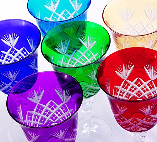 Light Blue Water Goblet (SET OF SIX WHITE OR RED WINE GLASSES, HAND CUT, LEAD-FREE CRYSTAL GLASS, BOHEMIAN, MULTI COLOR WINE WATER GOBLETS - RED BLUE YELLOW LIGHT BLUE GREEN AND PURPLE, 7.5 OZ)