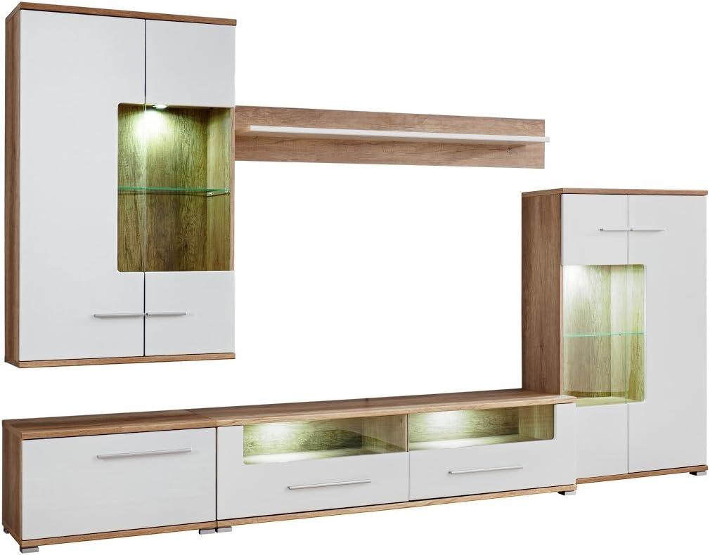 pmmarket Living Room High Gloss Furniture tall Display Wall Unit TV Cabinet Clara full set
